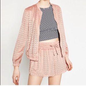 Zara TRF Blush Pink Eyelet Jacket